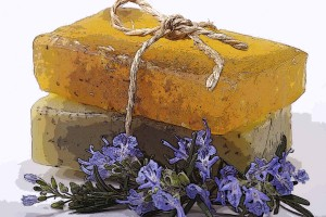 Handmade natural rosemary soaps.